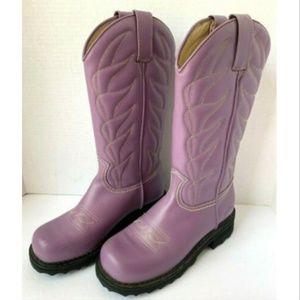 John Fluevog Purple Leather Cowboy Low Boots 7.5 8